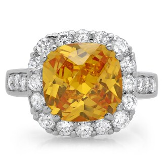 Sterling Essentials Silver Fancy Yellow Chessboard Cubic Zirconia Cocktail Ring
