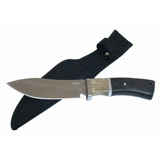 Defender 9.5-inch Brown Wood Handle Stainless Steel Hunting Knife