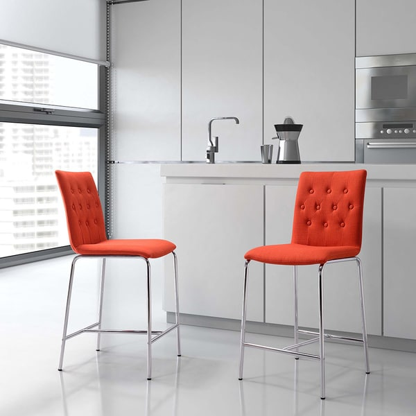 Uppsala Tangerine Fabric and Steel Counter Chairs (Set of 2)