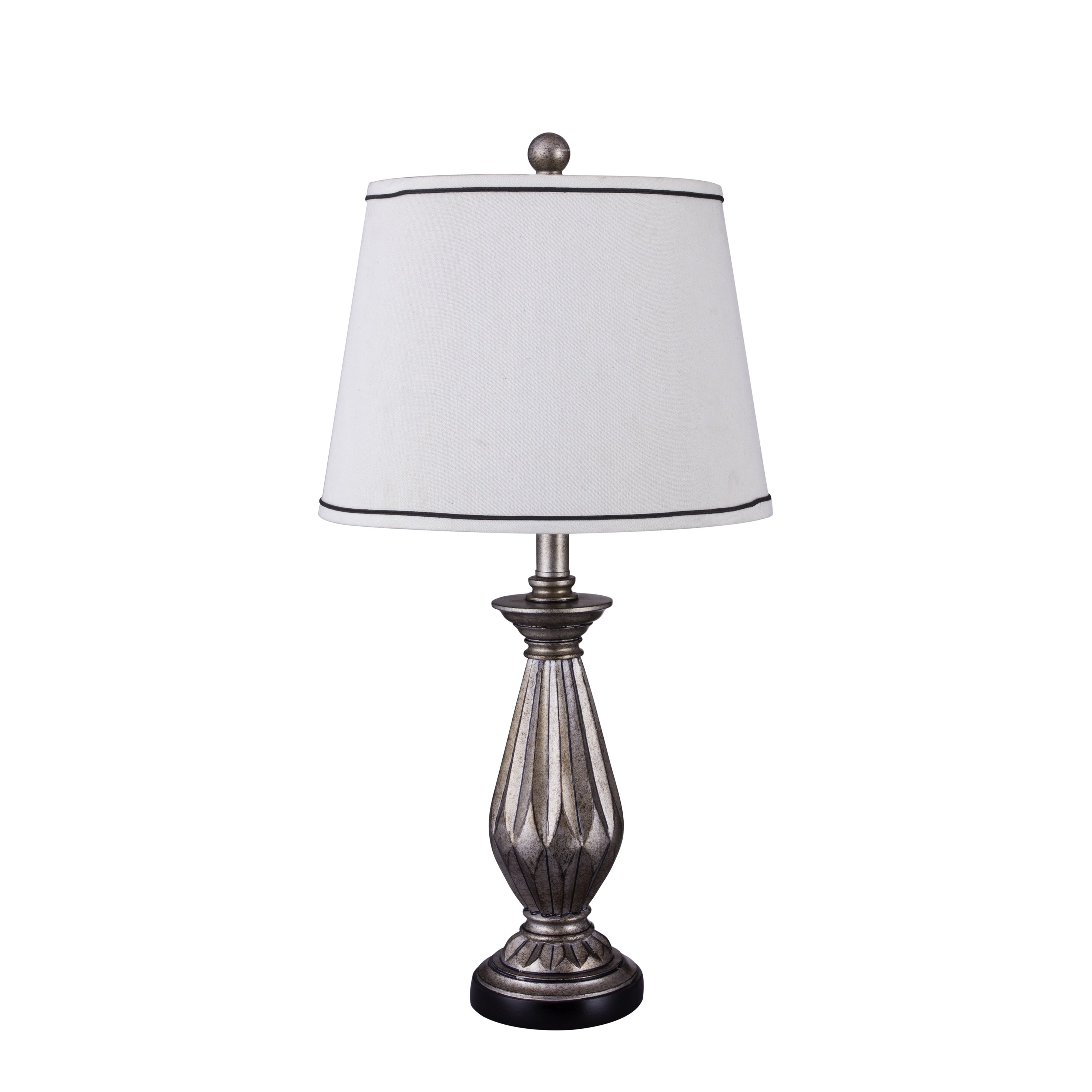 FANGIO s 26-inch Resin Table Lamp with Antique Silver Fin...
