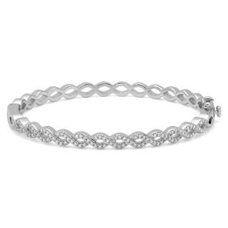 Sterling Silver Cubic Zirconia Infinity Bangle Bracelet