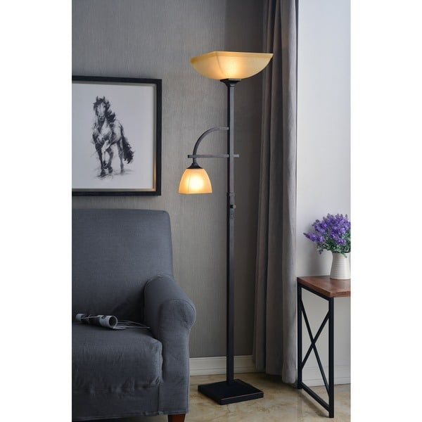 Copper Grove Klamath Mother and Son' Torchiere Floor Lamp