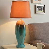 Design Craft Bellmore Teal Ceramic Glaze 30-inch Table Lamp