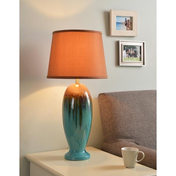 Bellmore Teal Ceramic Glaze 30-inch Table Lamp