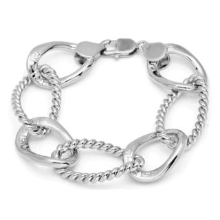 Sterling Essentials Silver Cable Greek Key Oval Link Bracelet