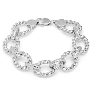 Sterling Essentials Silver Cable Oval Link Bracelet