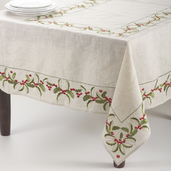 Embroidered Holly Design Linen Blend Tablecloth. Opens flyout.
