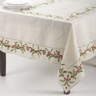 Embroidered Holly Design Linen Blend Tablecloth