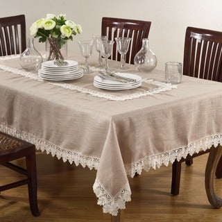 Taupe/ White Lace Trimmed Tablecloth