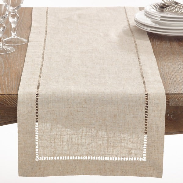 Natural hemstitched linen blend table runner free for 102 inch table runners