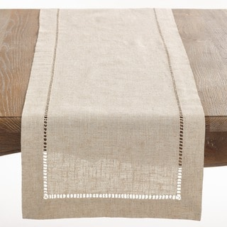 Natural Hemstitched Linen Blend Table Runner