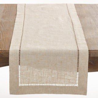 Charmant Natural Hemstitched Linen Blend Table Runner