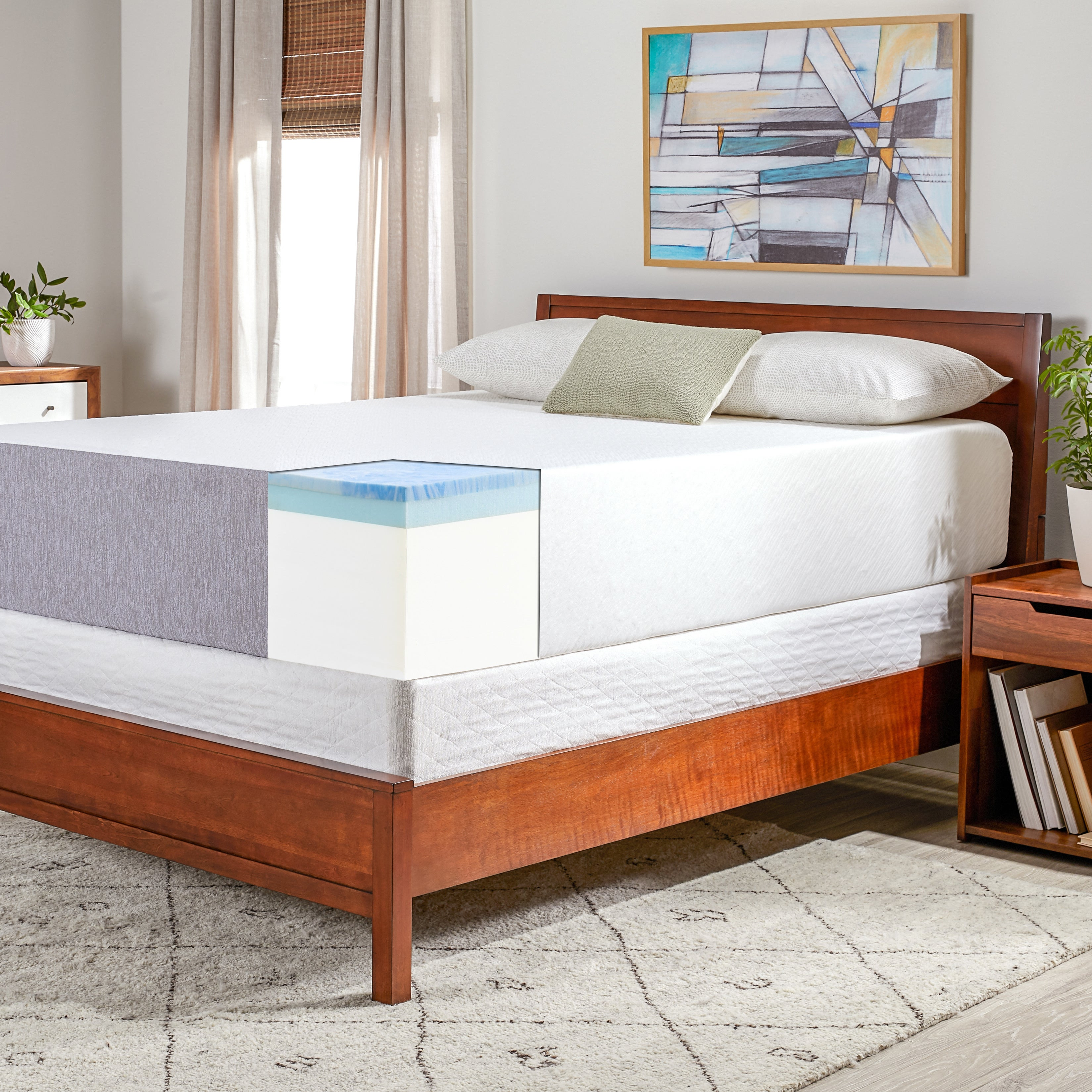 hot sale online 86aab 24ca4 OSleep 14-inch Medium Firm Gel Memory Foam Mattress and Foundation Set