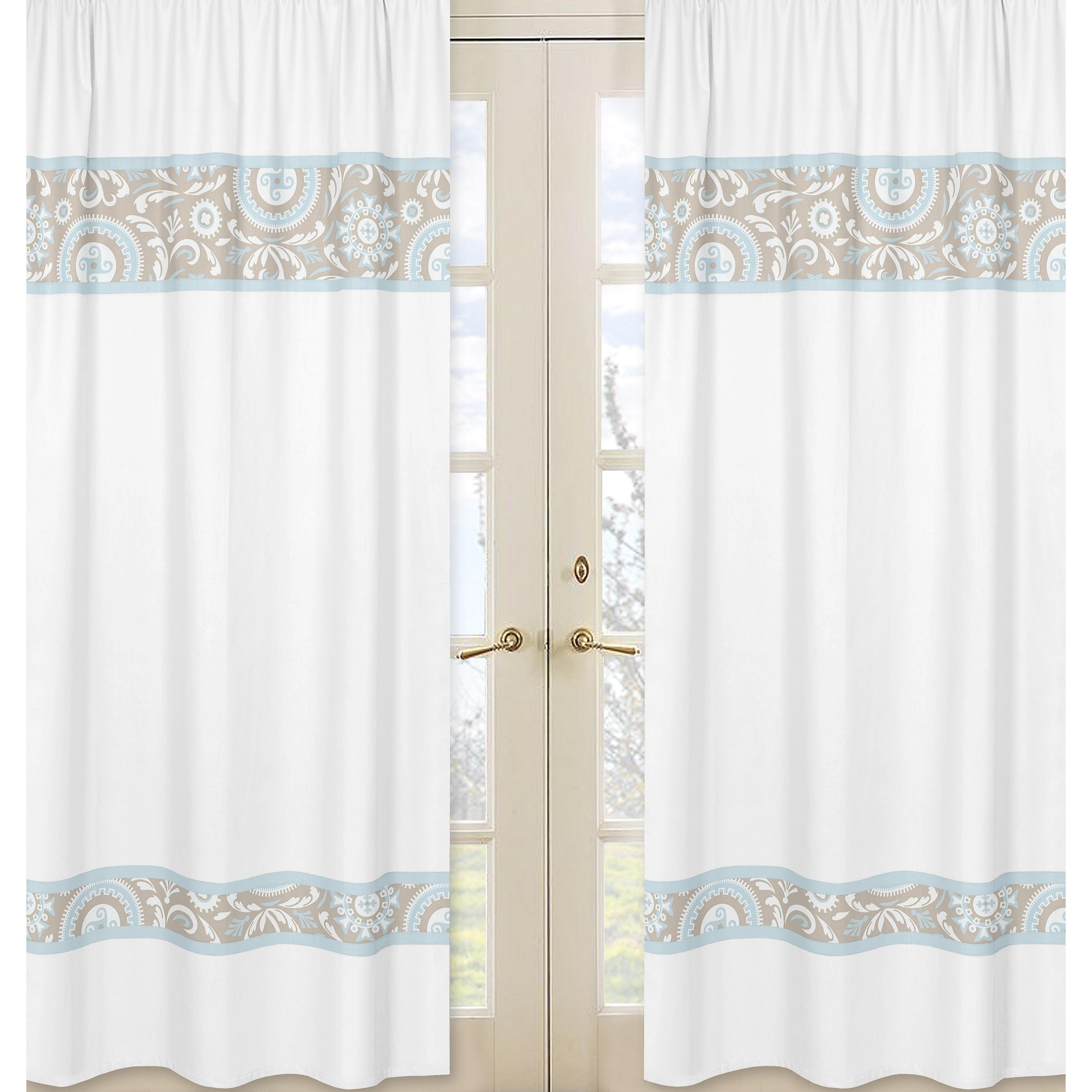JoJo Designs Spa Blue, Taupe and White 84-inch Window Tre...