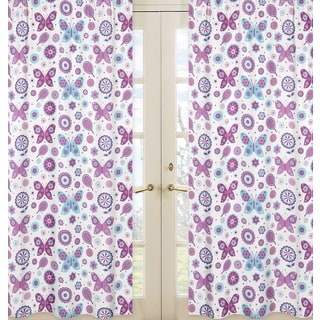 Sweet Jojo Designs Purple, Turquoise Blue and White 84-inch Window Treatment Curtain Panel Pair for Spring Garden Collection