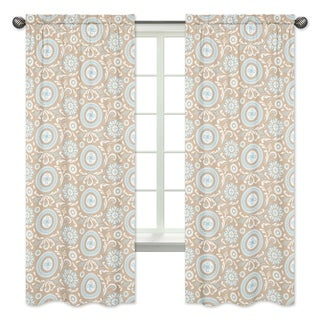 Sweet Jojo Designs Spa Blue, Taupe and White 84-inch Window Treatment Curtain Panel Pair for Blue and Taupe Hayden Collection