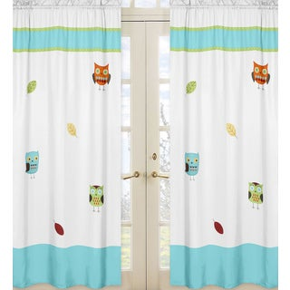 Sweet Jojo Designs Turquoise, Lime, Orange, Yellow, Taupe, White Hooty Collection 84-inch Window Treatment Curtain Panel Pair