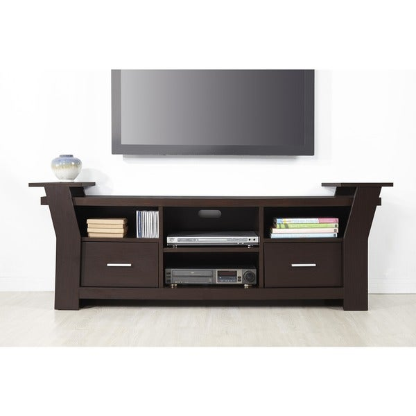 furniture of america skyler contemporary 64 inch black white or cappuccino 2 drawer tv console. Black Bedroom Furniture Sets. Home Design Ideas