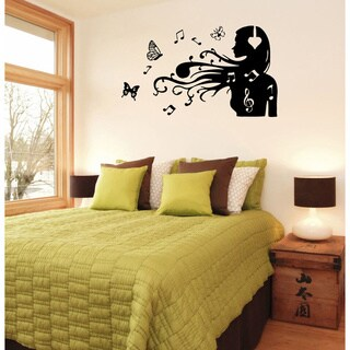 Girl with Notes in Hair Vinyl Wall Decal