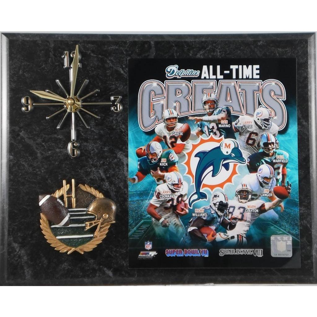 Miami Dolphins All Time Greats Clock, Pink (Wood)