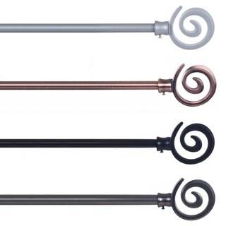 Windsor Home Steel Spiral Finial Modern Curtain Rod Set