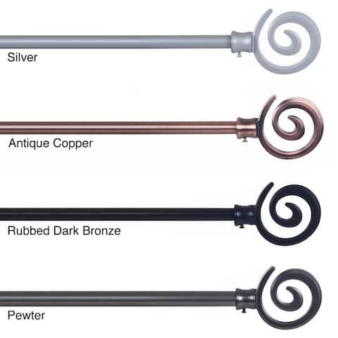 Windsor Home Spiral Finial Modern Curtain Rod Set