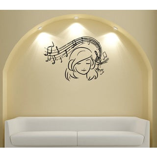 Girl with Musical Scale Vinyl Wall Decal