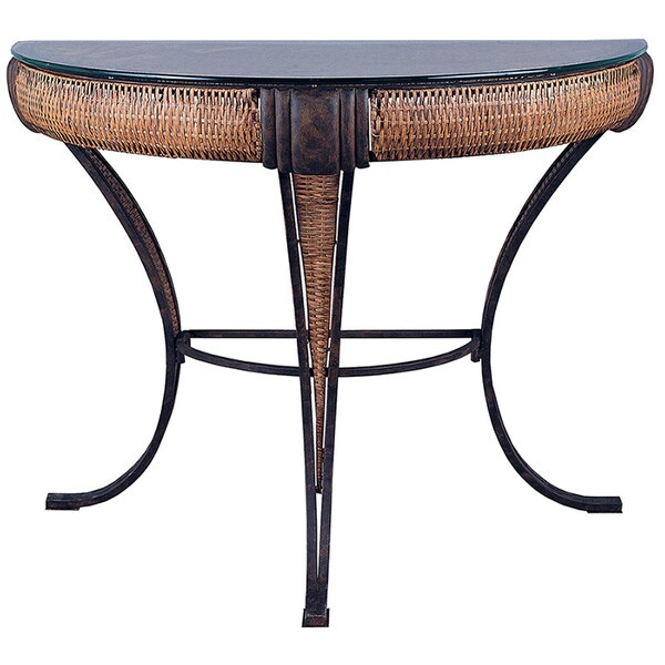 Bombay Collection English Bronze Bamboo Wicker Glass Top