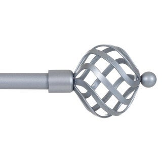 Lavish Home Twisted Sphere Finial Adjustable Modern Curtain Rod Set