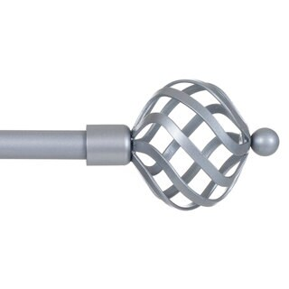 Windsor Home Twisted Sphere Finial Steel Adjustable Curtain Rod Set
