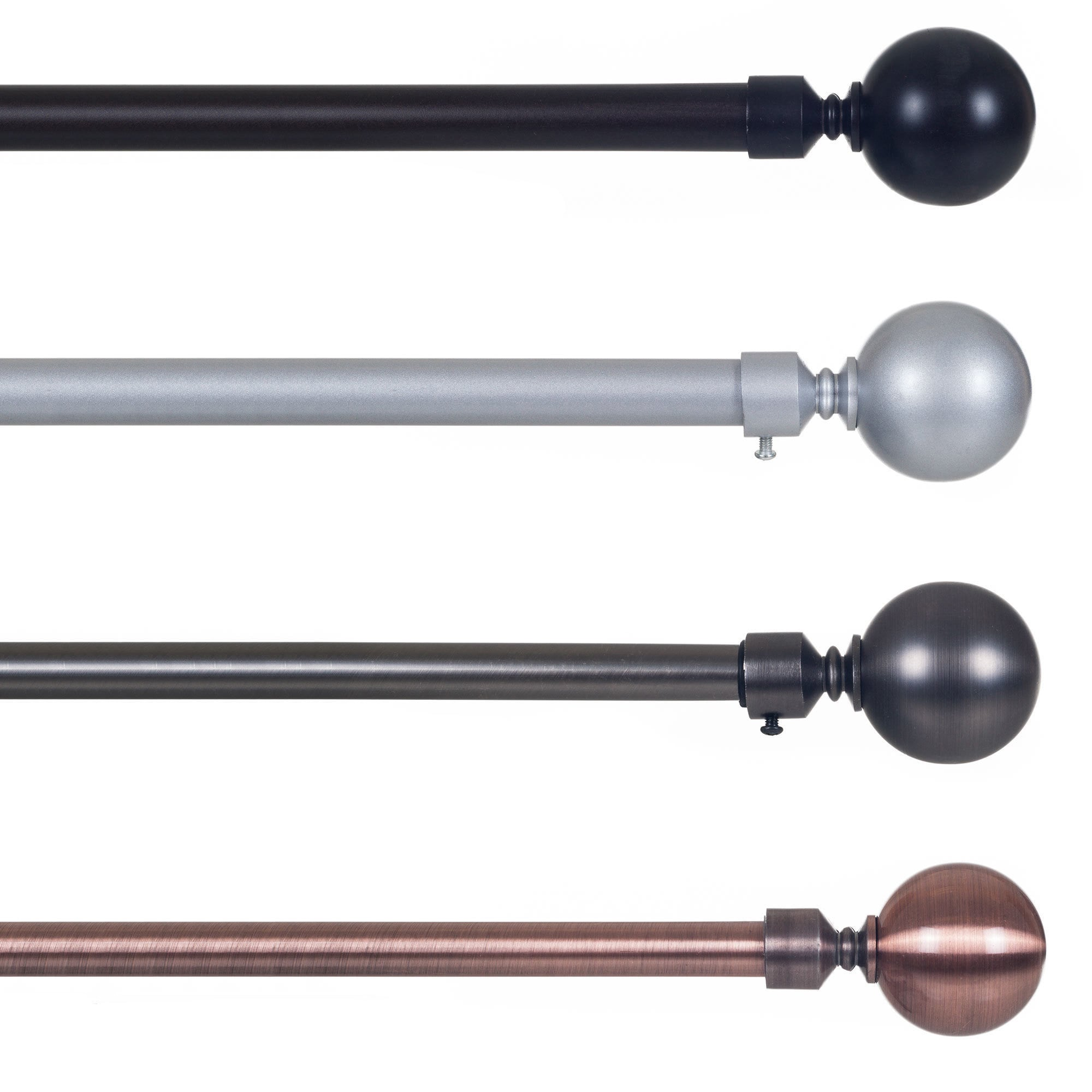 Modern curtain rods and finials - Lavish Home Sphere Finial Adjule Modern Curtain Rod Set Free