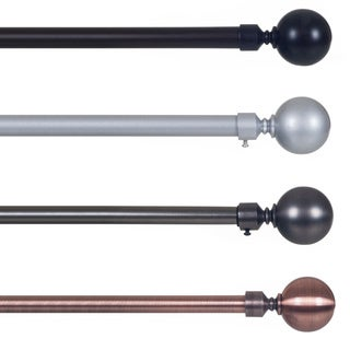 Lavish Home Sphere Finial Adjustable Modern Curtain Rod Set