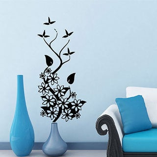 Flower and Butterfly Vinyl Wall Decal