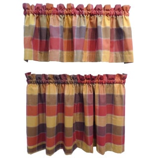 Harris Spice Plaid Rod Pocket 3-piece Tier and Valance Set