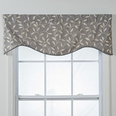 "Kensington Shaped Grey Vines Window Valance - 17""l x 52""w"