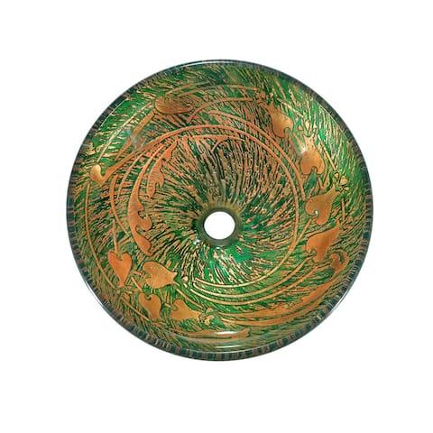 Green/ Gold Splatter Glass Sink Bowl