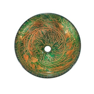 Green/ Gold Splatter Glass Sink Bowl