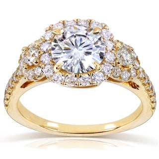 Annello by Kobelli 14k Gold 1 3/4ct TGW Moissanite and Diamond Three Stone Halo Engagement Ring