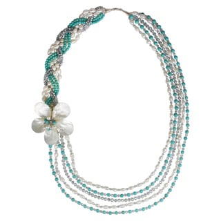 Handmade Floating Daisy Multi Strand Pearl Side Flower Necklace (Thailand)