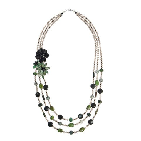 Handmade Delightful Green Bouquet of Stone Shell Multi Strand Beaded Necklace (Thailand)