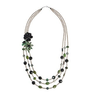 Handmade Lotus Delight Floral Side Multi Strand Mix Stone Necklace (Thailand)