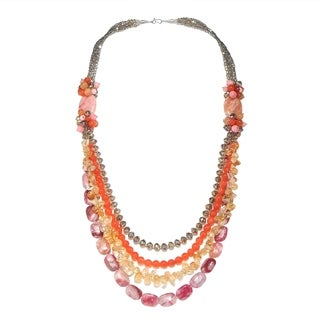Handmade Cascading Mix Stones Statement Layer Necklace (Thailand)