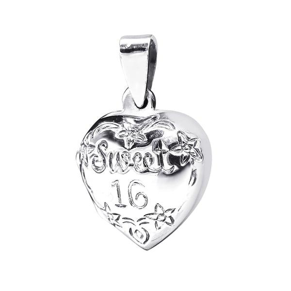 Handmade Lovely Sweet 16 Heart Locket .925 Silver Pendant (Thailand)