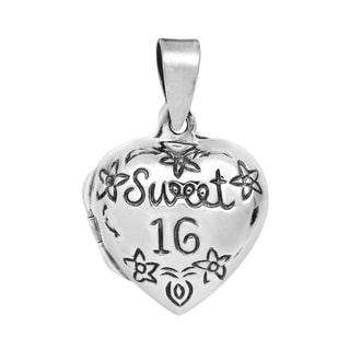 Handmade Lovely Sweet 16 Heart Locket .925 Silver Pendant (Thailand)