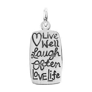 Handmade Mini 'Live Well Laugh Often Love Life' .925 Silver Pendant (Thailand)