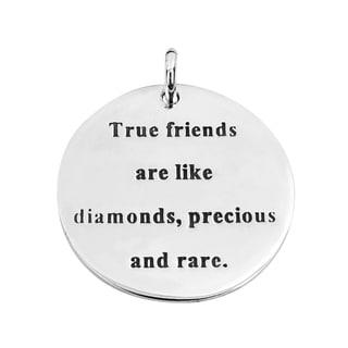 Handmade 'True Friends' Precious Message .925 Silver Pendant (Thailand)