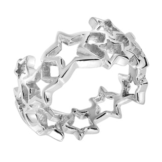 Cut Out Stars Link Band Sterling Silver Ring (Thailand)