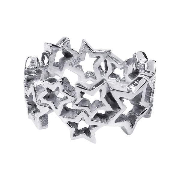 Handmade Cut Out Stars Link Band Sterling Silver Ring (Thailand)