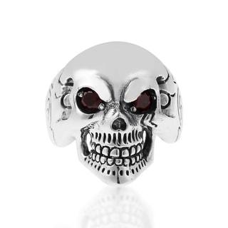 Handmade Punk Skull Cubic Zirconia Eyes Sterling Silver Ring (Thailand)