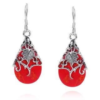 Handmade Floral Vine Ornate Teardrop Red Coral .925 Silver Earrings (Thailand)